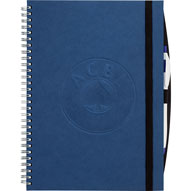 wirebound notebook with blue board cover