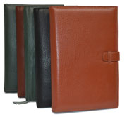 black, green, tan and camel leather journals