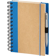 recycled spiral journal with blue cloth trim